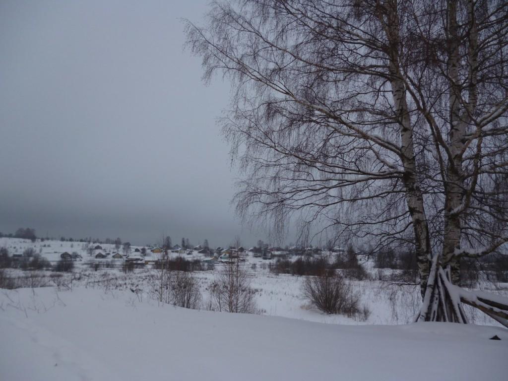Зима по календарю. Вид на д. Поспеловскую от храма.